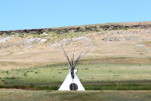 First Peoples Buffalo Jump Cliffs with Tepee